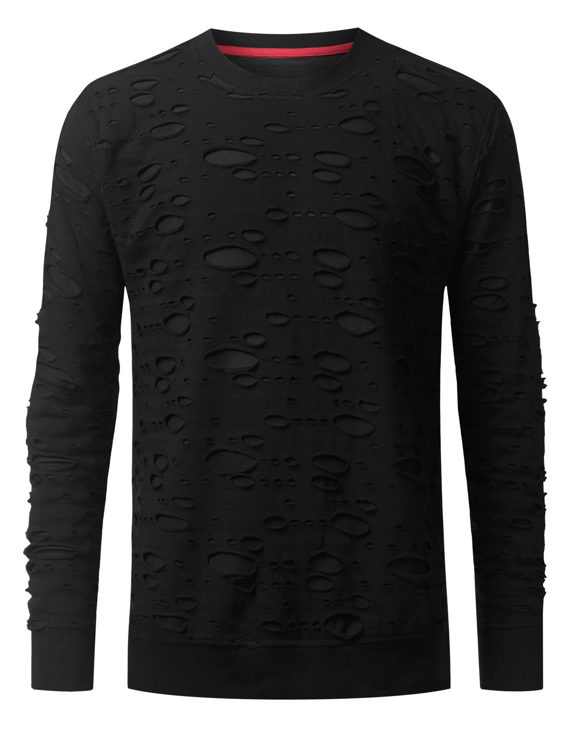 BLACKBLACK 2 Tone Ripped Long Sleeve Tshirt - URBANCREWS