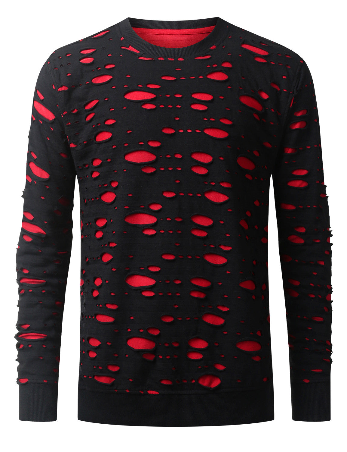 BLACKRED 2 Tone Ripped Long Sleeve Tshirt - URBANCREWS