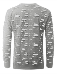 HGRAY 2 Tone Ripped Long Sleeve Tshirt - URBANCREWS