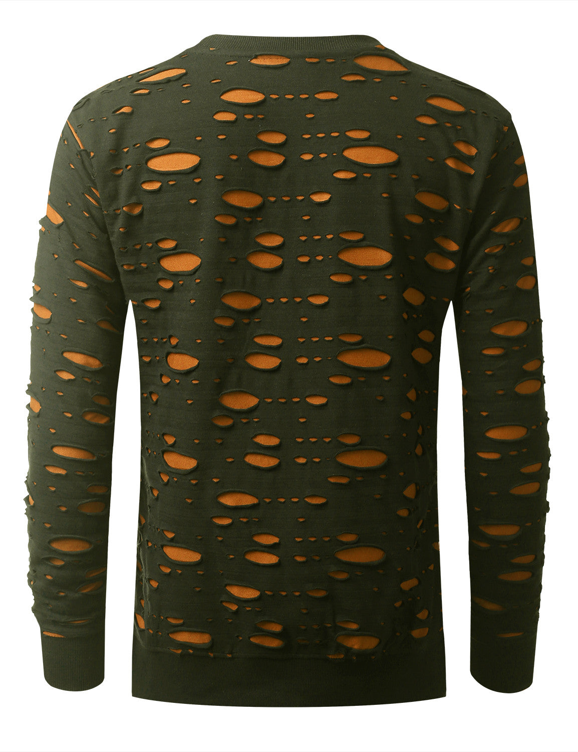 OLIVE 2 Tone Ripped Long Sleeve Tshirt - URBANCREWS