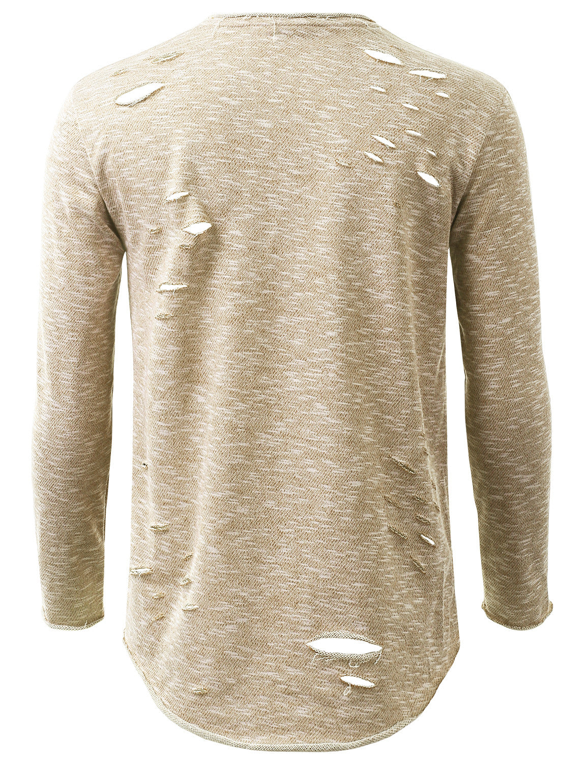 BEIGE French Terry Ripped Long Sleeve Tshirt - URBANCREWS