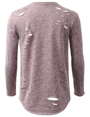 BURGUNDY French Terry Ripped Long Sleeve Tshirt - URBANCREWS