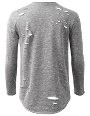 GRAY French Terry Ripped Long Sleeve Tshirt - URBANCREWS