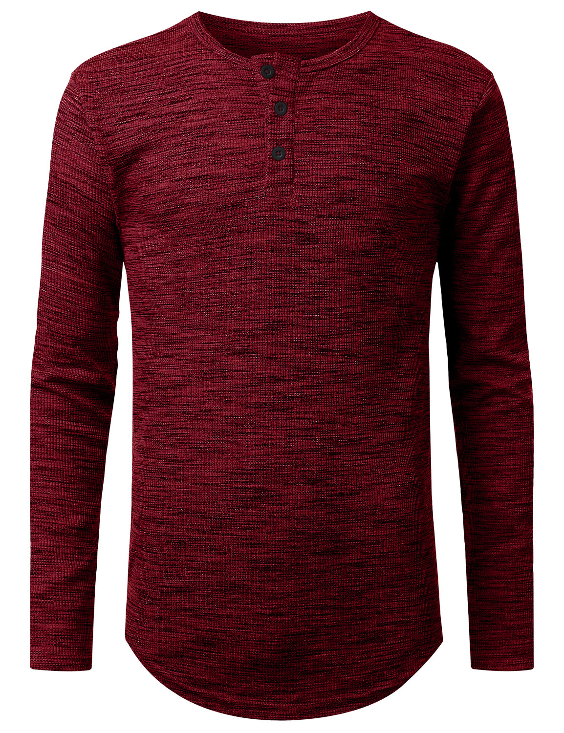 BURGUNDY 3-Button Placket Thermal T-shirt - URBANCREWS