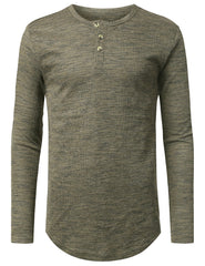 OLIVE 3-Button Placket Thermal T-shirt - URBANCREWS