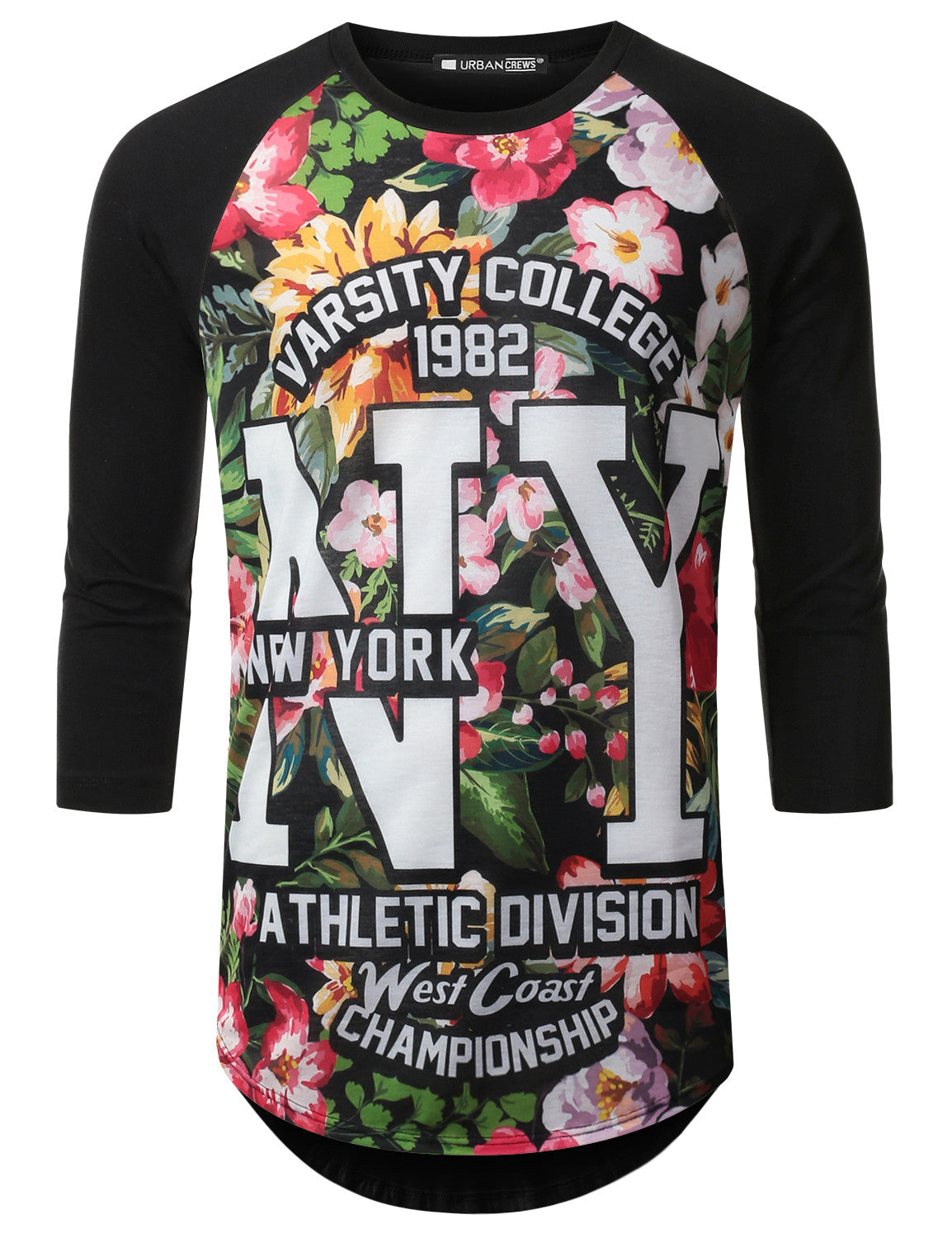 BLACK NewYork Floral Raglan Baseball Shirt - URBANCREWS