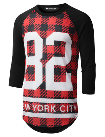Checkered Raglan Baseball Shirt