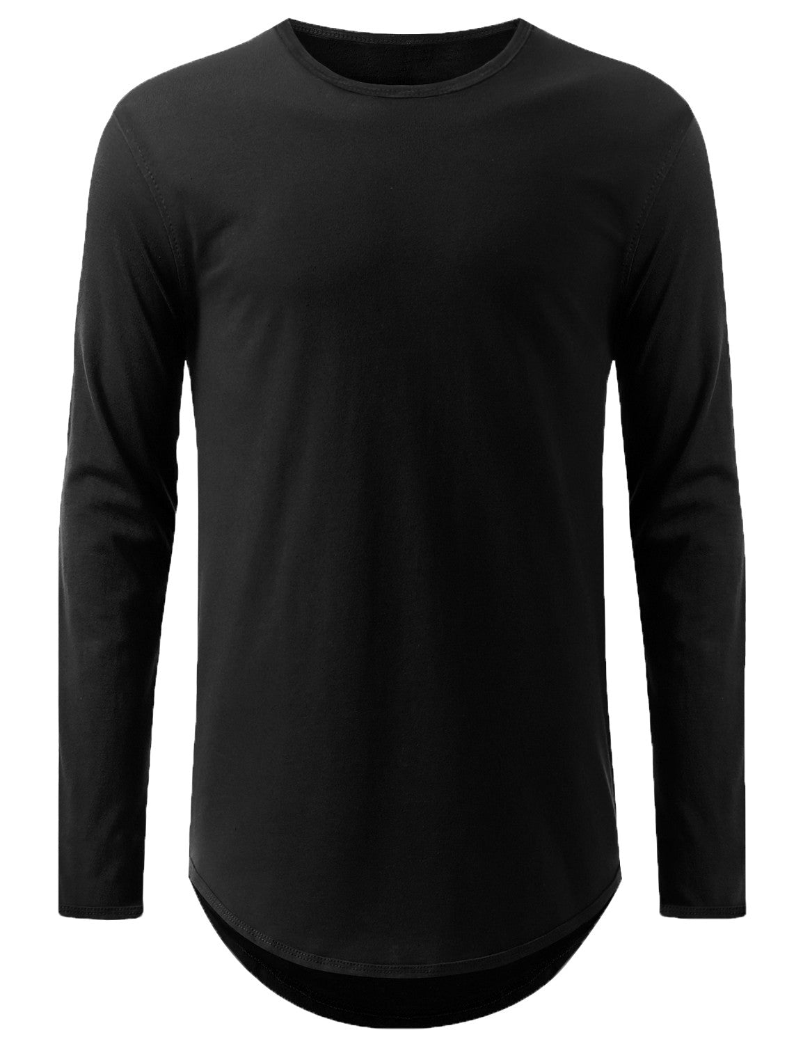 BLACK Lightweight Basic Long Sleeve Tshirt - URBANCREWS