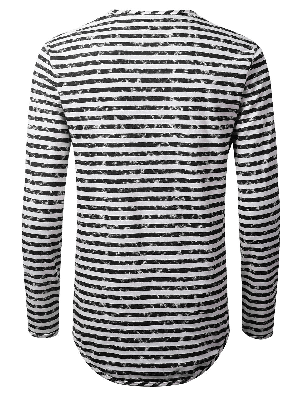 BLACK Faded Striped Long Sleeve Tshirt - URBANCREWS
