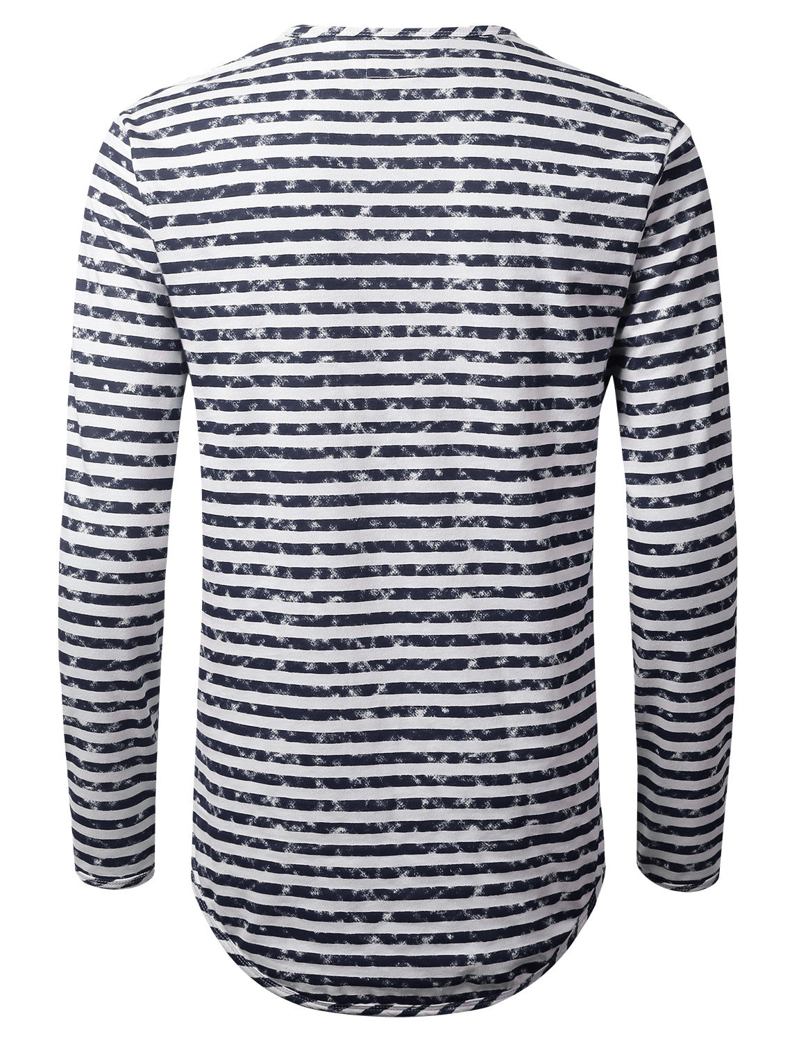 NAVY Faded Striped Long Sleeve Tshirt - URBANCREWS