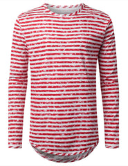 RED Faded Striped Long Sleeve Tshirt - URBANCREWS