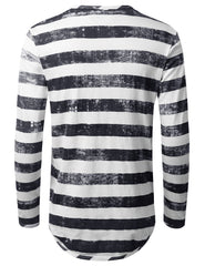 NAVY Vintage Striped Long Sleeve Tshirt - URBANCREWS