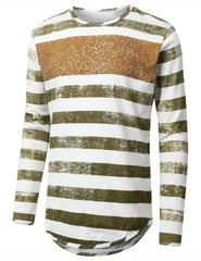 OLIVE Vintage Striped Long Sleeve Tshirt - URBANCREWS