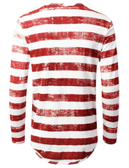 RED Vintage Striped Long Sleeve Tshirt - URBANCREWS