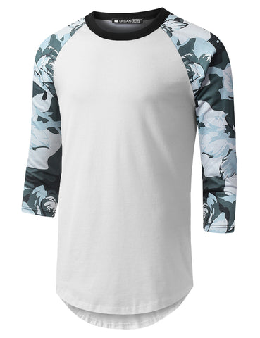 Black Gray Camo Raglan Baseball Shirt