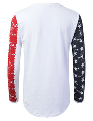 WHITE American Flag Long Sleeve T-shirt - URBANCREWS