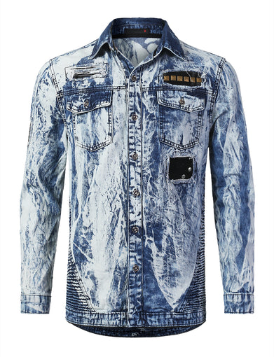 Ripped Washed Woven Denim Shirt