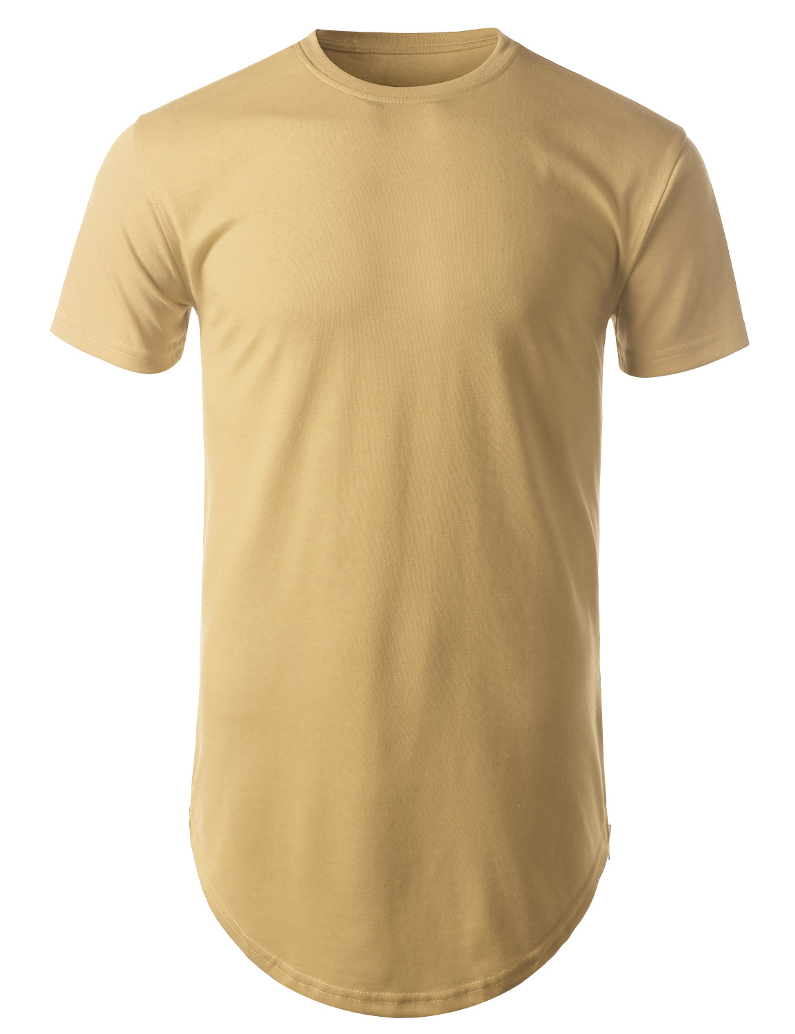 KHAKI Basic Longline Crewneck T-shirt with Side Zippers - URBANCREWS