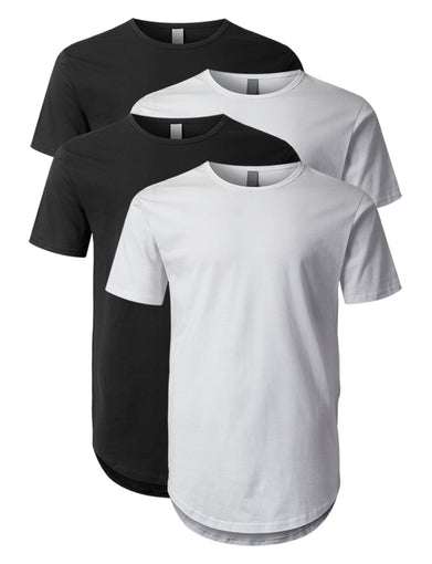 Elong Round Hemline Crewneck T-Shirt Black and White(4 Pack)