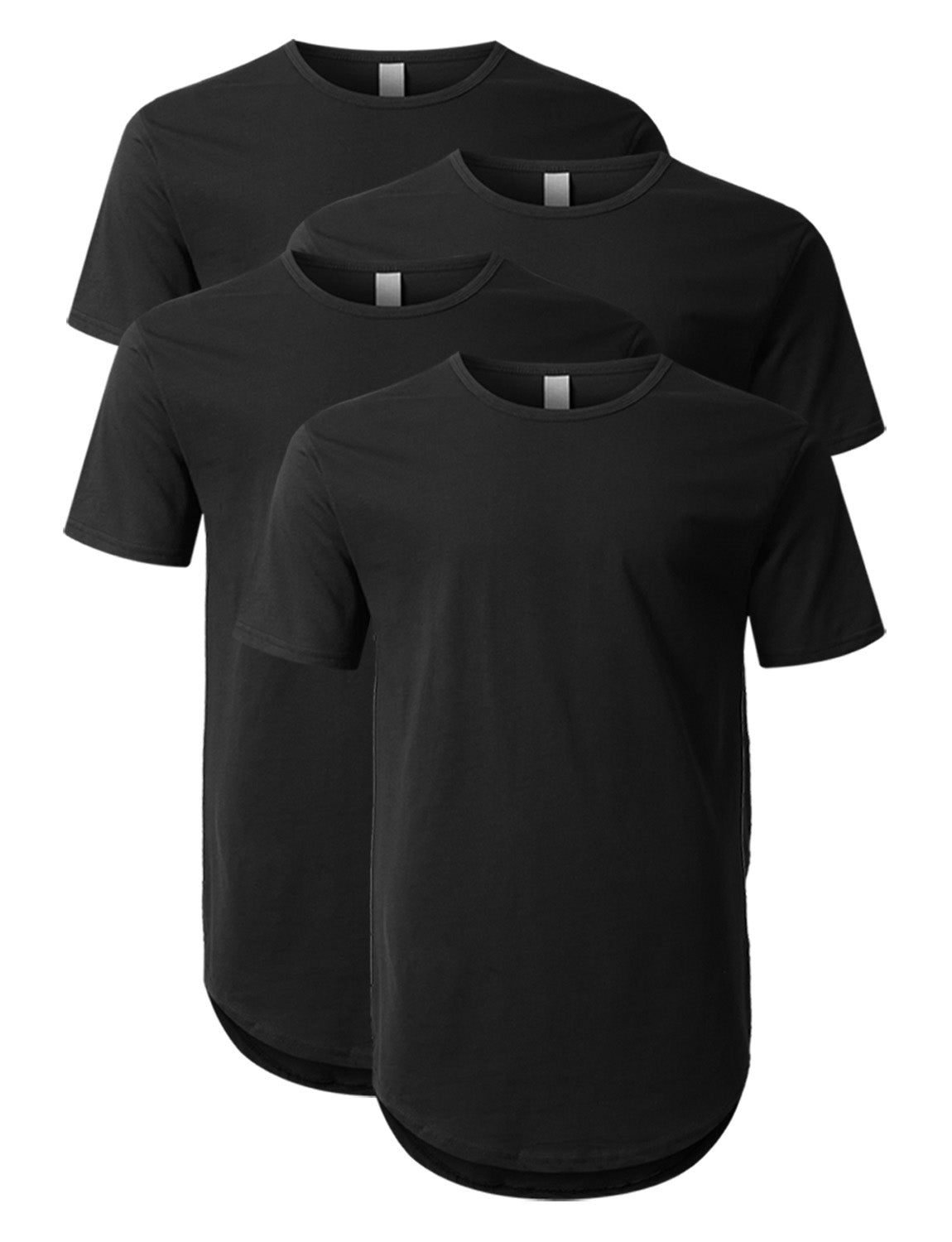 Crewneck Basic T-Shirts 4 Pack Black/Black