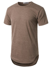 BROWN Basic Crewneck Longline Tshirts