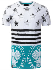 TEAL AMERICAN FLAG SHIRT