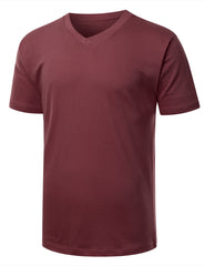 BURGUNDY Basic V-Neck T-Shirt - URBANCREWS