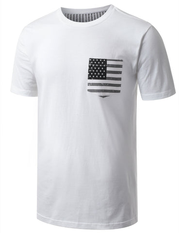 USA Flag Pocket Crewneck Tshirts