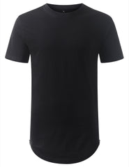 BLACK Marled Longline Crewneck Tshirts with Side Zipper