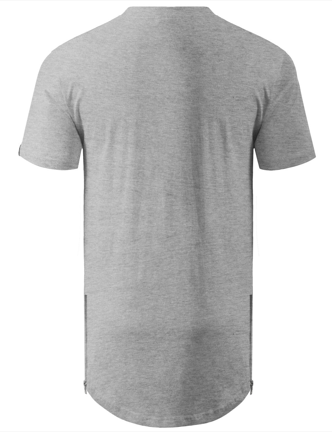 HGREY Marled Longline Crewneck Tshirts with Side Zipper