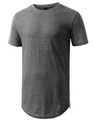 MARLEDBLACK Marled Longline Crewneck Tshirts with Side Zipper
