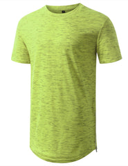 MARLEDLIME Marled Longline Crewneck Tshirts with Side Zipper