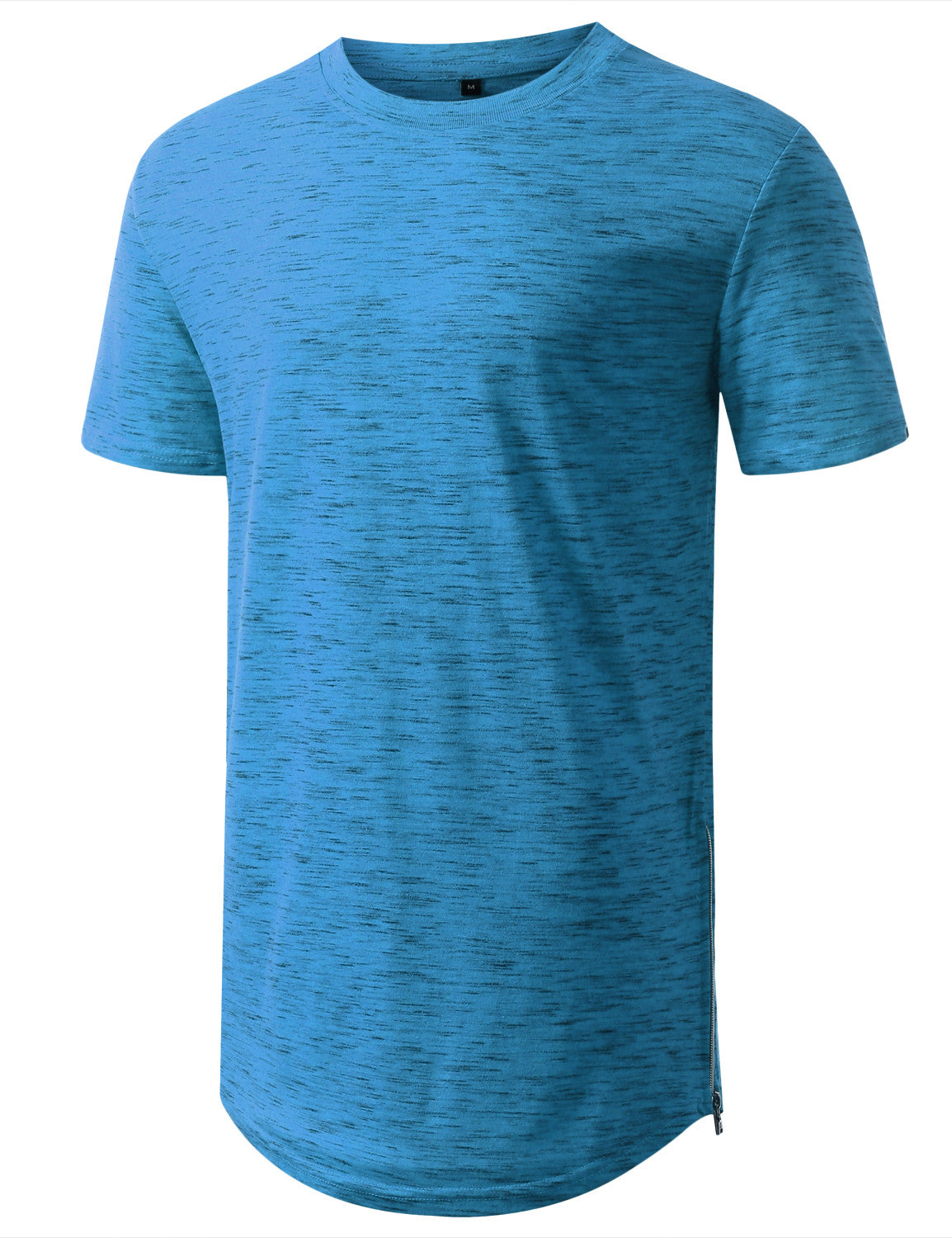 MARLEDLTBLUE Marled Longline Crewneck Tshirts with Side Zipper