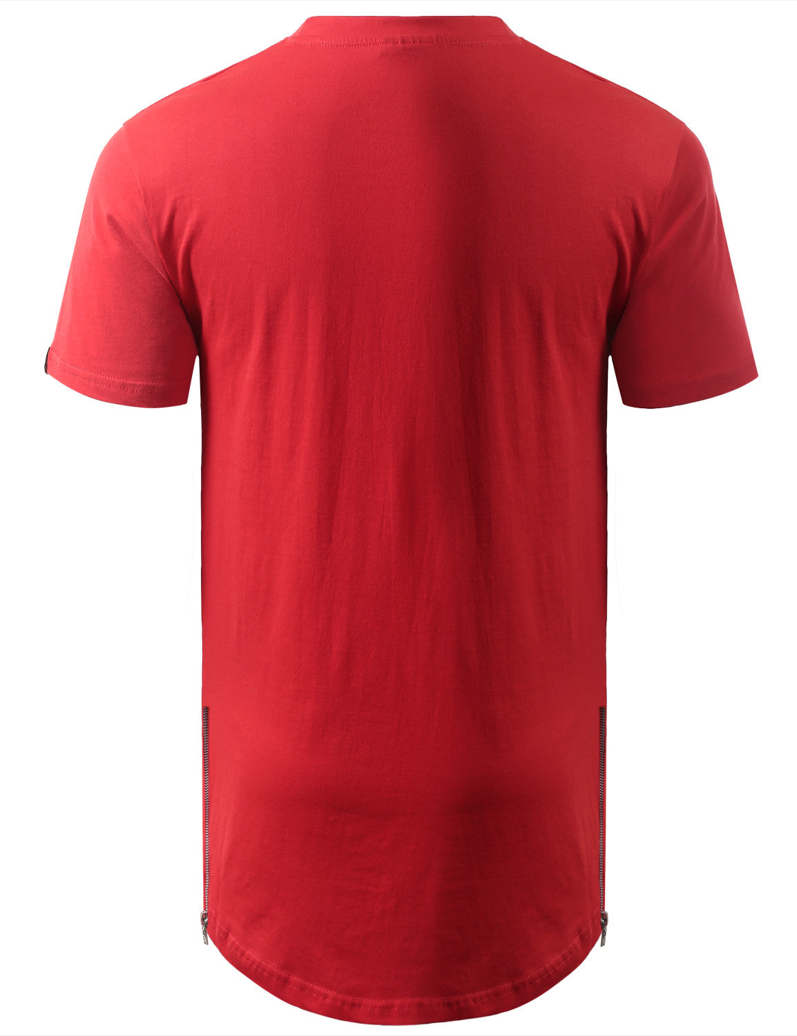 RED Marled Longline Crewneck Tshirts with Side Zipper
