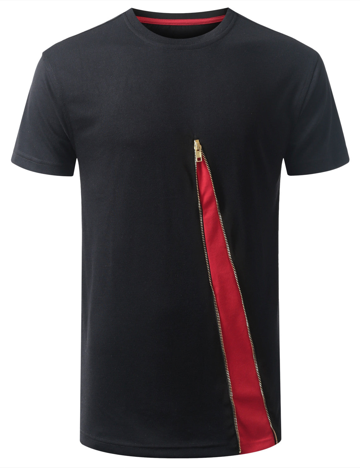 BLACKRED BASIC ZIP TSHIRTS