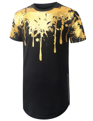 Metallic Drips Paint Longline Crewneck Tshirts with Side Zippers