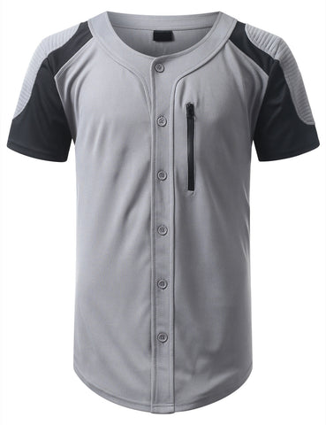 Ribbed Button Down Baseball Jersey