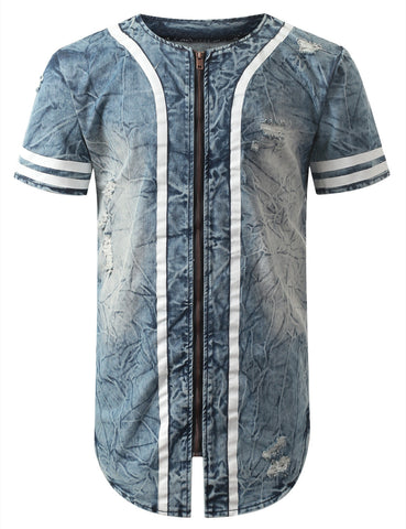 Acid Wash Zip Denim Baseball Jersey