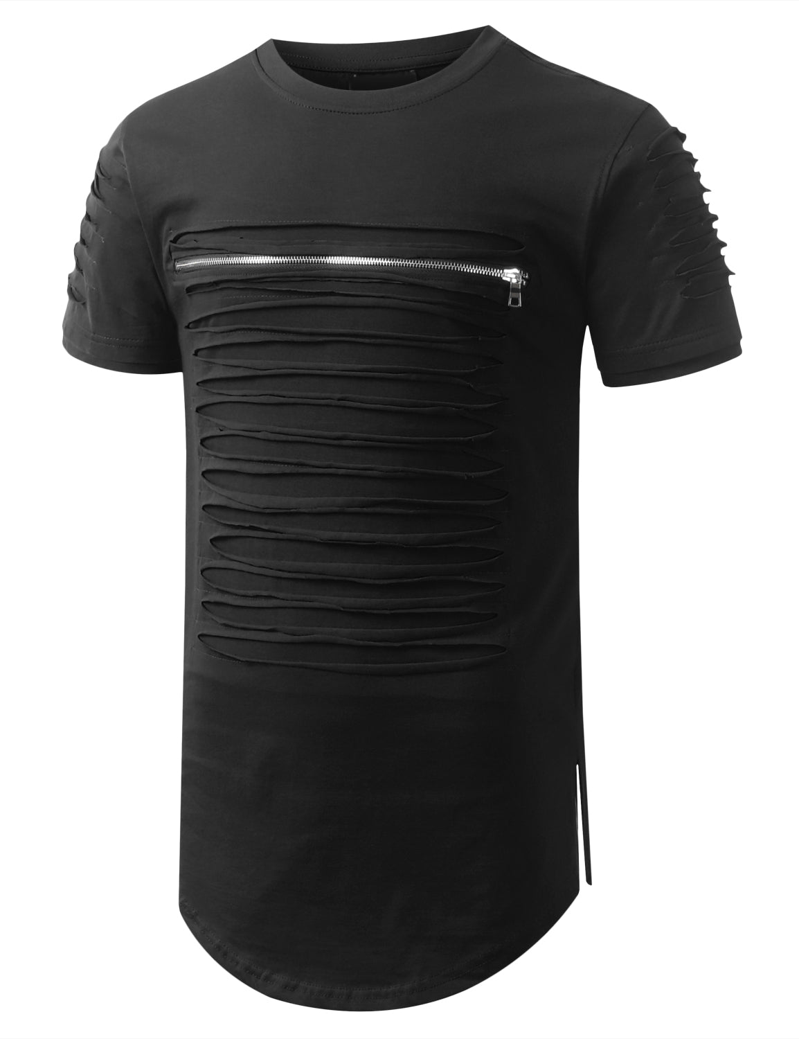 BLACK Ripped Zip Longline Crewneck T-shirts - URBANCREWS