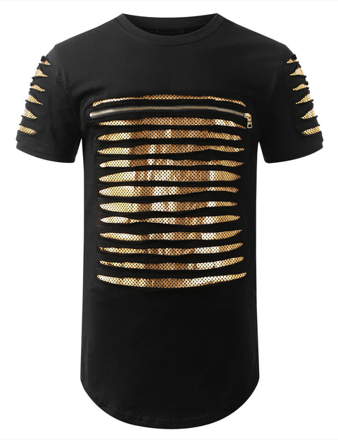 BLACKGOLD Ripped Zip Longline Crewneck T-shirts - URBANCREWS