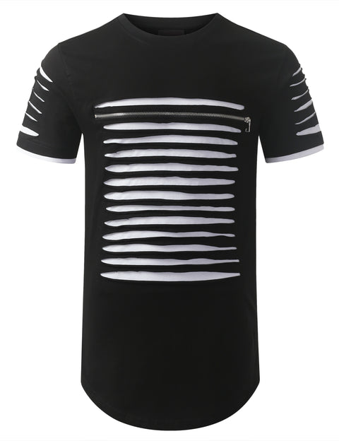BLACKWHITE Ripped Zip Longline Crewneck T-shirts - URBANCREWS