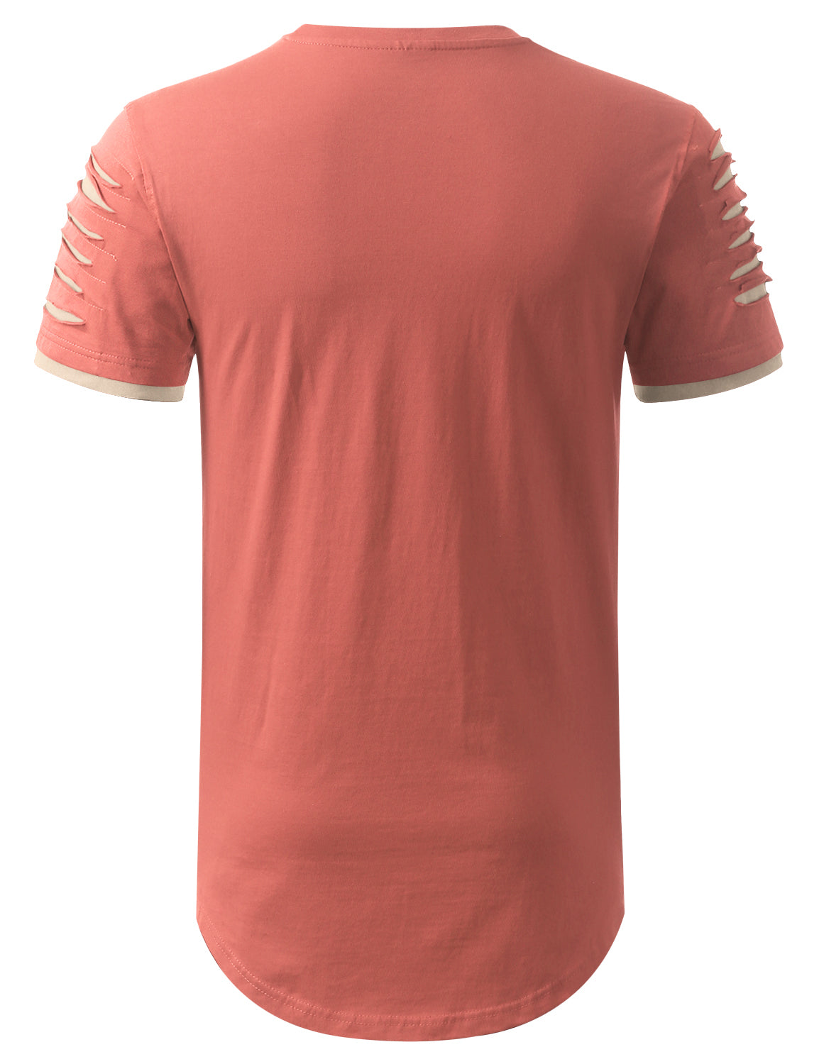 DUSTYPINK Ripped Zip Longline Crewneck T-shirts - URBANCREWS