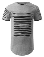HGRAY Ripped Zip Longline Crewneck T-shirts - URBANCREWS