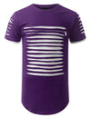 PURPLEWHITE Ripped Zip Longline Crewneck T-shirts - URBANCREWS