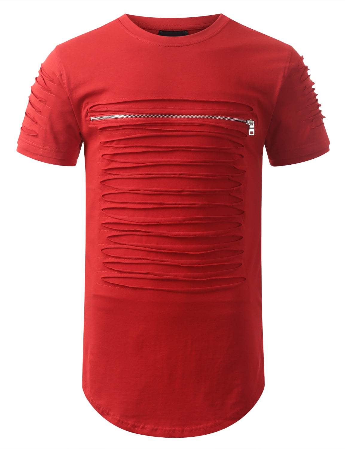 RED Ripped Zip Longline Crewneck T-shirts - URBANCREWS