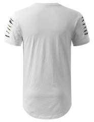 WHITECAMO Ripped Zip Longline Crewneck T-shirts - URBANCREWS