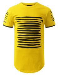 YELLOWBLACK Ripped Zip Longline Crewneck T-shirts - URBANCREWS