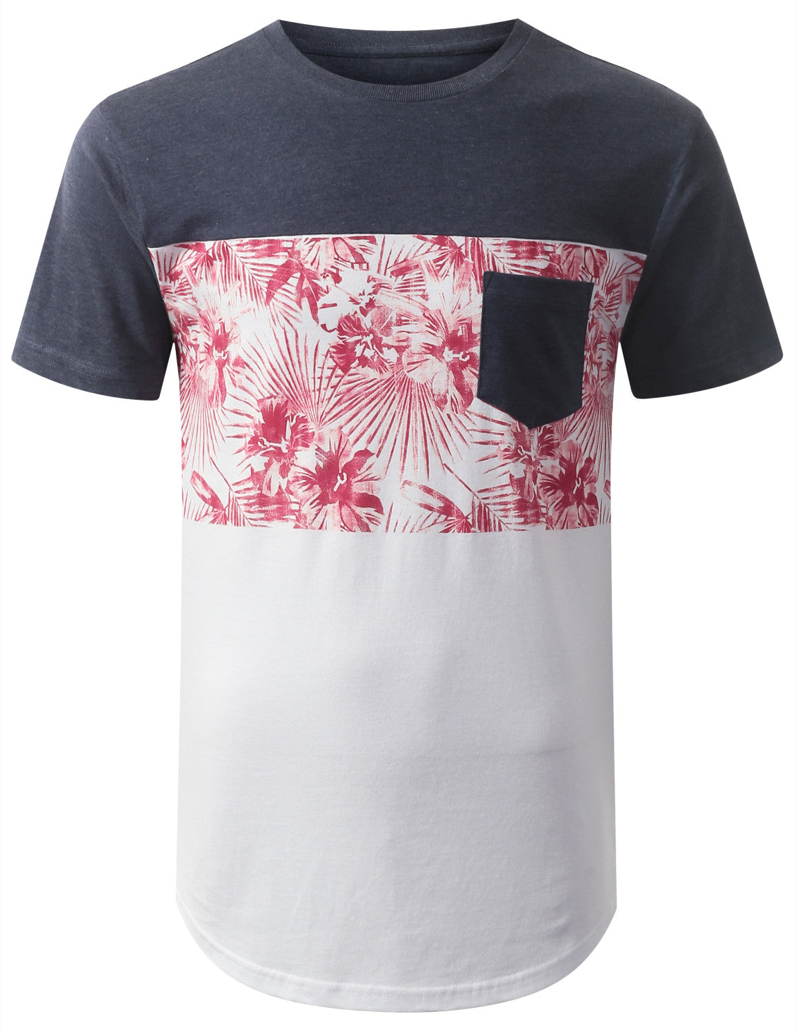 NAVY FLORAL POCKET CREWNECK TSHIRTS