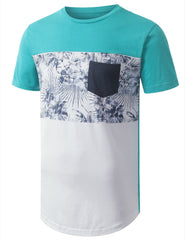 TURQUOISE FLORAL POCKET CREWNECK TSHIRTS