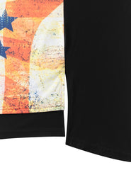 BLACK USA Flag Conquer Longline Tshirt - URBANCREWS